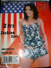 SEXY HOT CAMOUFLAGE TANK TOP CAMISOLE WITH MATCHING BOY SHORTS     FREE SHIPPING