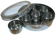 Stainless Steel Indian 7 Spice Tin Lid Box Tandoori Masala Dabba Spices Storage
