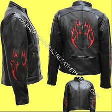 Ladies Womens Leather Motorcycle Racer Style Jacket Tribal Flames – Sizes XS-4X