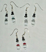 Christmas Snowmen Cats Eye Bead Earrings Surgical Steel Ear Wires Handcrafted