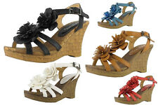 Ladies Shoes Georgeous Lite Comfortable Wedges With Flower Detail Size  5-10