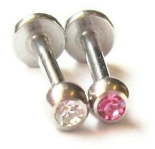 2 LIP TRAGUS HELIX STUDS TOP EAR EARRING BARS 1.2mm AB PINK CLEAR 6mm - 12mm