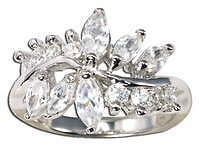 Diamonique Marquise Vine SS Band Ring NEW
