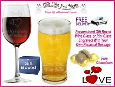 Engraved Valentines Wine/ Pint Glass Personalised Romantic Boyfriend Gift