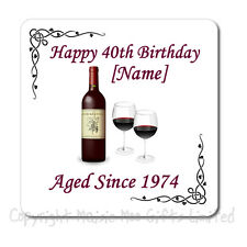 Personalised 40th | 50th | 60th | 65th | 70th | 80th Birthday Wine Gift Coaster