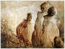 Decor Poster. Fine Graphic Art. Painting of 3 sad ladies. Home Wall Design 1313