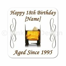 Personalised Whiskey 40th | 50th | 60th | 65th | 70th Birthday Gift Coaster