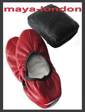 Maya-London Travel Dance Ballet Pilates Yoga Red Leather Slippers Sz: 36 to 41