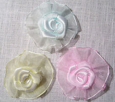 LOT 2 GRANDE APPLIQUE ROSE SATIN ORGANZA 5cm - Couture, bijou, barrette, Broche