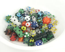 Glass Bead Mix - marbled, black & white, dot beads, red, green, blue, frosted