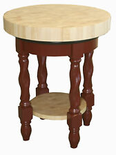 Amish Butcher Block Kitchen Island Solid Wood Round Snack Bar Table Twisted Leg