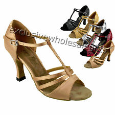 "Women's Salsa Ballroom Tango Satin Leather Dance Shoes 2.5"" / 3"" Very Fine 1683"