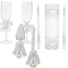 Silver Hearts Unity Candle, Toasting Glasses, Cake Server Set, Place Cards