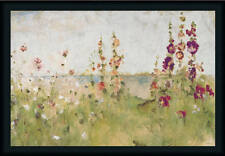 Hollyhocks the Sea Floral Landscape Framed Art Print Wall Decor Picture