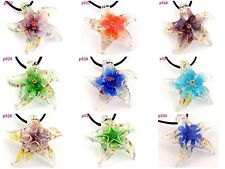 fashion Starfish flower star Murano Lampwork Glass Pendant Necklace p522-533