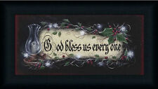 God Bless us Everyone Holiday Décor Sign Framed Art Print Wall Décor Picture
