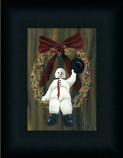 Snowman Wreath Primitive Folk Art Country Framed Art Print Wall Décor 7x5
