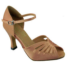 Womens Ballroom Salsa Latin Tango Brown Dance Shoes 2.5/3 Very Fine Shoes 2709