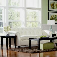 Modern Classic Retro White Leather Sofa Couch 502551 Kristyna Button Tufted Set