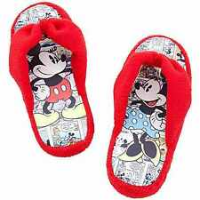 Disney Comic Strip Mickey Minnie Mouse Youth Girls Plush Flip Flop Slippers 2/3