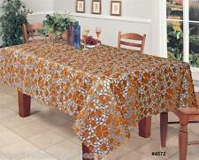 Autumn Fall Embroidered Cutwork Leaf Leaves Brown Gold Tablecloth + Napkin #4572