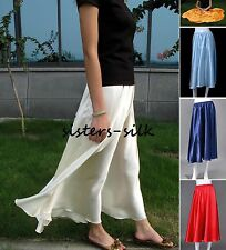 Womens Girls 100% Silk Charmeuse Long Skirts Size XS ~ Size 3XL AF673