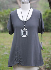 OH MY GAUZE Cotton Ruched Simple ANA A-Line Top 1 (S/M) 2 (L/XL) 3 (1X) Graphite