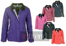 WOMENS QUILTED PADDED BUTTON ZIP JACKET LADIES COAT TOP [COLOURS] SIZES 8-16