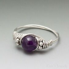 Amethyst Dark Purple Bali Sterling Silver Wire Wrapped Bead Ring ANY size