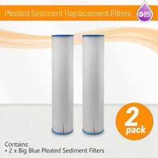 """(2) 20""""x4.5"""" Big Blue Whole House Pleated Sediment Water Filter/Washable/Pool"""