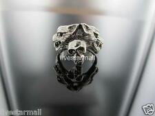 SKULL & WOLF MEN SILVER TONE RING SIZE 7, 7.5, 8 NEW