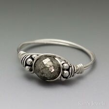 Pyrite Faceted Fools Gold Bali Sterling Silver Wire Wrapped Bead Ring ANY size