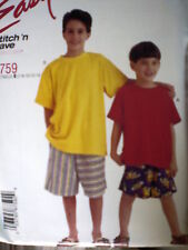 8759 UNCUT Vintage McCalls SEWING Pattern Boys Summer T Shirt Pull on Shorts OOP
