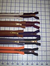 "Sturdy brass separating zippers blue green burgundy orange 2 each 20"" to 28"" USA"