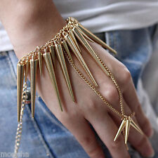 Dangle Spike Rivet Punk Style Bracelet Chain Link to Finger Ring Unisex Cool
