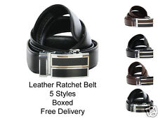 Mens Black or Brown Leather Ratchet Belt With Large Buckle. Gift Boxed. 5 Styles