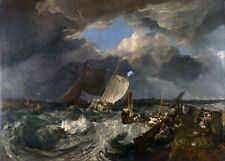 Calais Pier in Stormy Seas by Joseph Turner Canvas Seascape Giclee Picture Print