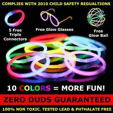 "300 Premium 8"" Glow Stick Bracelets (with bonus connectors, glow glasses, balls)"