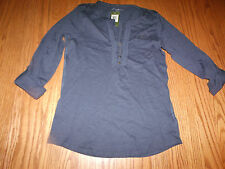 NWT WOMENS EDDIE BAUER 3/4 Sleeve Henley Ruffle NAVY BLUE SHIRT SMALL S 2XL XXL