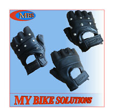 Leather Fingerless gloves for Driving Cycling Fishing Gym and Goth Best Match