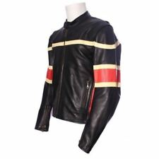 New Rock Motorcycle Motorbike Scooter 100% Cow Hide Leather Jacket  196