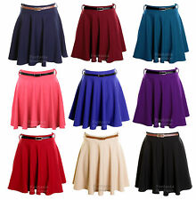 Ladies Belted Pleated Skater Flared Jersey Party Dress Women Skirt 8 10 12 14