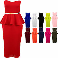 Ladies Boobtube Belted Frill Sleeveless Peplum Midi Women's Bodycon Dress 8-16