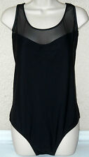 Catalina GORGEOUS! Black 1-Piece Swimsuit w/Pretty See-Through Top Front New $88