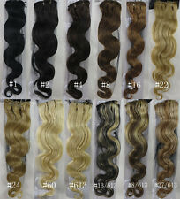 """22"""" Remy Human Hair 15Clips In Extensions Soft 7parts Attach Hair Body Wavy 75g"""