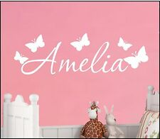 PERSONALISED NAME BUTTERFLY WALL ART STICKER MURAL DECAL BOY GIRL BEDROOM WORDS