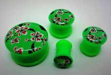 New Acrylic Green Flower Blossom  Single Flared Plugs . ( 2 Gauge to 1 inch )