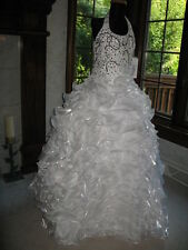 Tiffany Princess 13316 White Pageant Ball Gown Dress 14