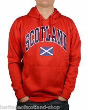 Scotland Saltire Flag Unisex Hooded Top, Long Sleeve, Red, All Sizes