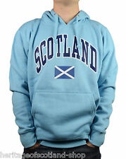 Scotland Saltire Flag Unisex Hooded Top, Long Sleeve, Sky Blue, All Sizes